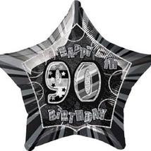 Black Glitz Adult's 90th Birthday Foil Balloon 20 Inch 50cm - $1.89
