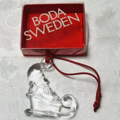 Primary image for Kosta Boda Sweden Glass Clear Crystal Santa in Sleigh Ornament 3 Inch in Box