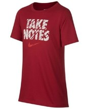 Nike Big Boys Red Short Sleeve Graphic T Shirt TAKE NOTES New Small  - $13.85