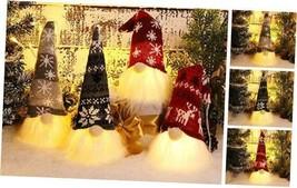 Handmade Christmas Gnome Tomte with Light, Plush Elf Scandinavian Santa... - $36.37