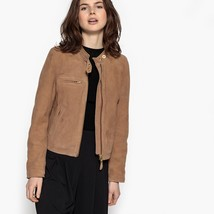 New crew neck with Push Buttons Women's Genuine Suede Biker Jacket