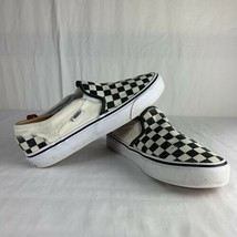 Vans Authentic Checkerboard Slip On Shoes Black White Cream Women's Sz 7 Classic - $43.56