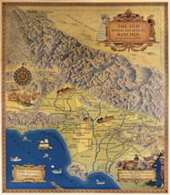 1937 Map of Spanish Mexican Ranchos Los Angeles County Poster Vintage Hi... - $12.38