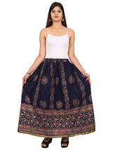 Rajasthani Printed Hippie Long Bottom Cotton Waisted Maxi Skirt - $18.69