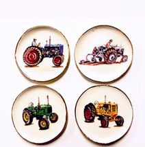 DOLLHOUSE 4 Plates w Antique Farm Tractors CDD644 By Barb Wall Art Miniature - $20.63