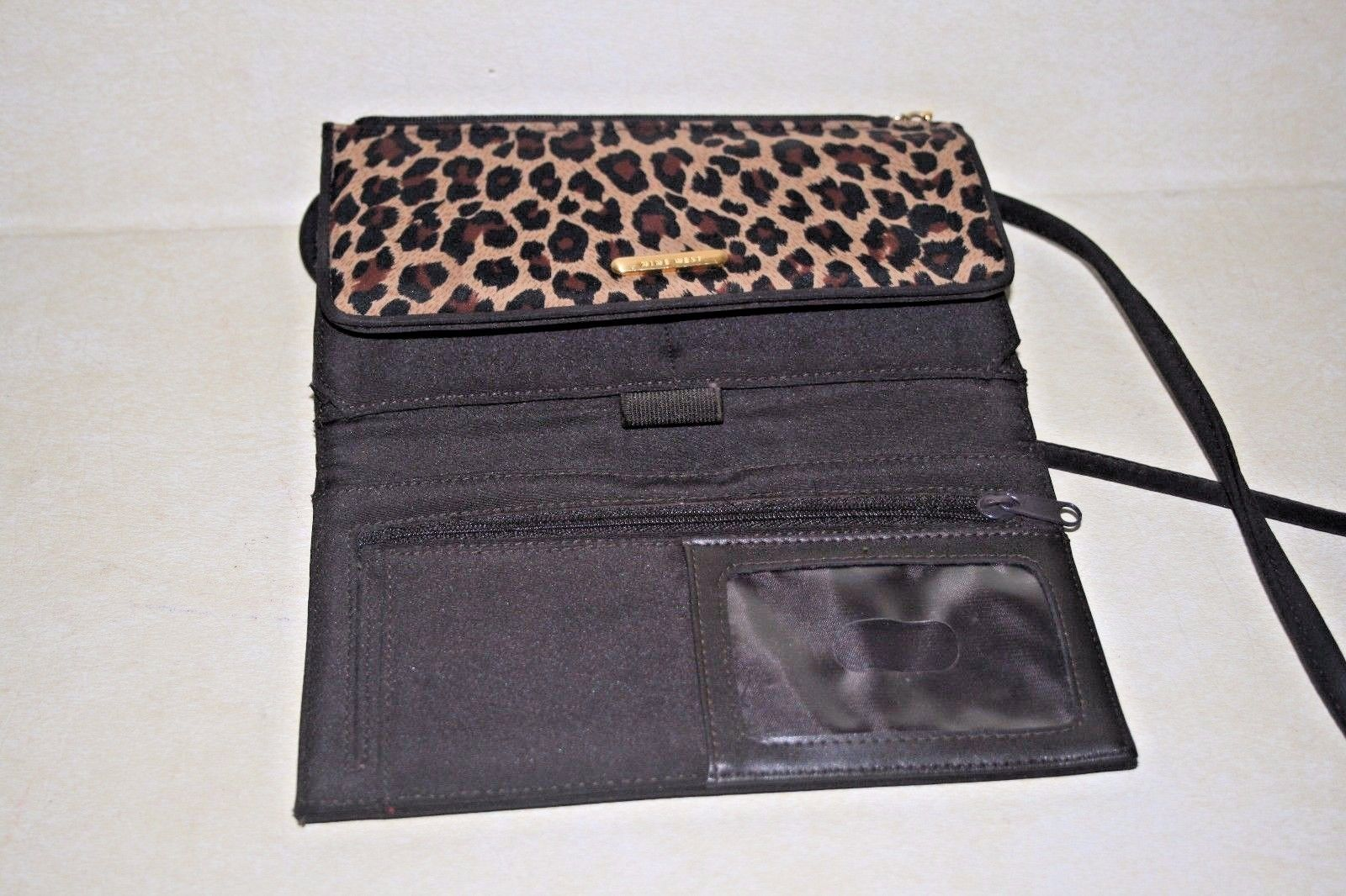NINE WEST Polyester Fabric Brown & Animal Print Cross Body Shoulder Bag