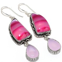 """Pink Lace Agate, Rose Quartz Jewelry Earring 2.8"""" RE746 - $5.99"""