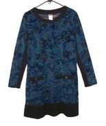 Dolcezza Tunic Dress M Medium Burnout Black Blue Pockets - $25.19