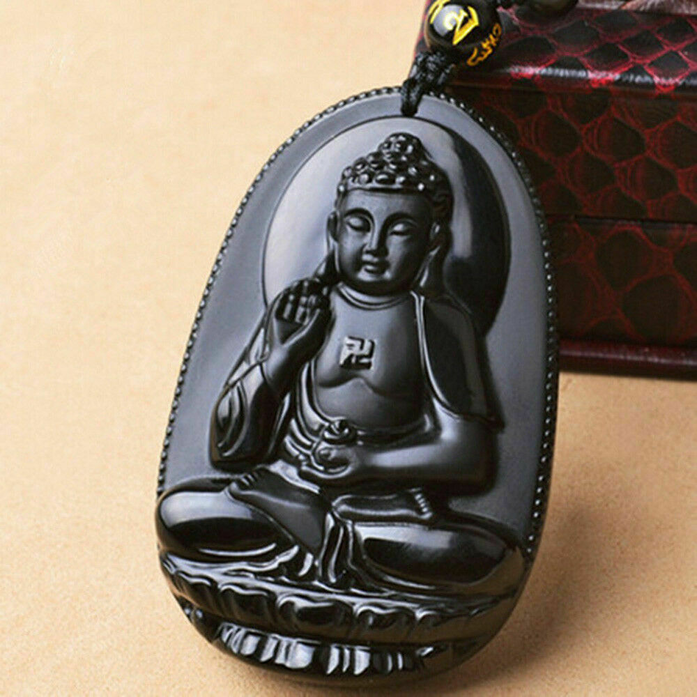 Black Natural A Obsidian Carved Buddha Pendant Rope with Chain - Random design