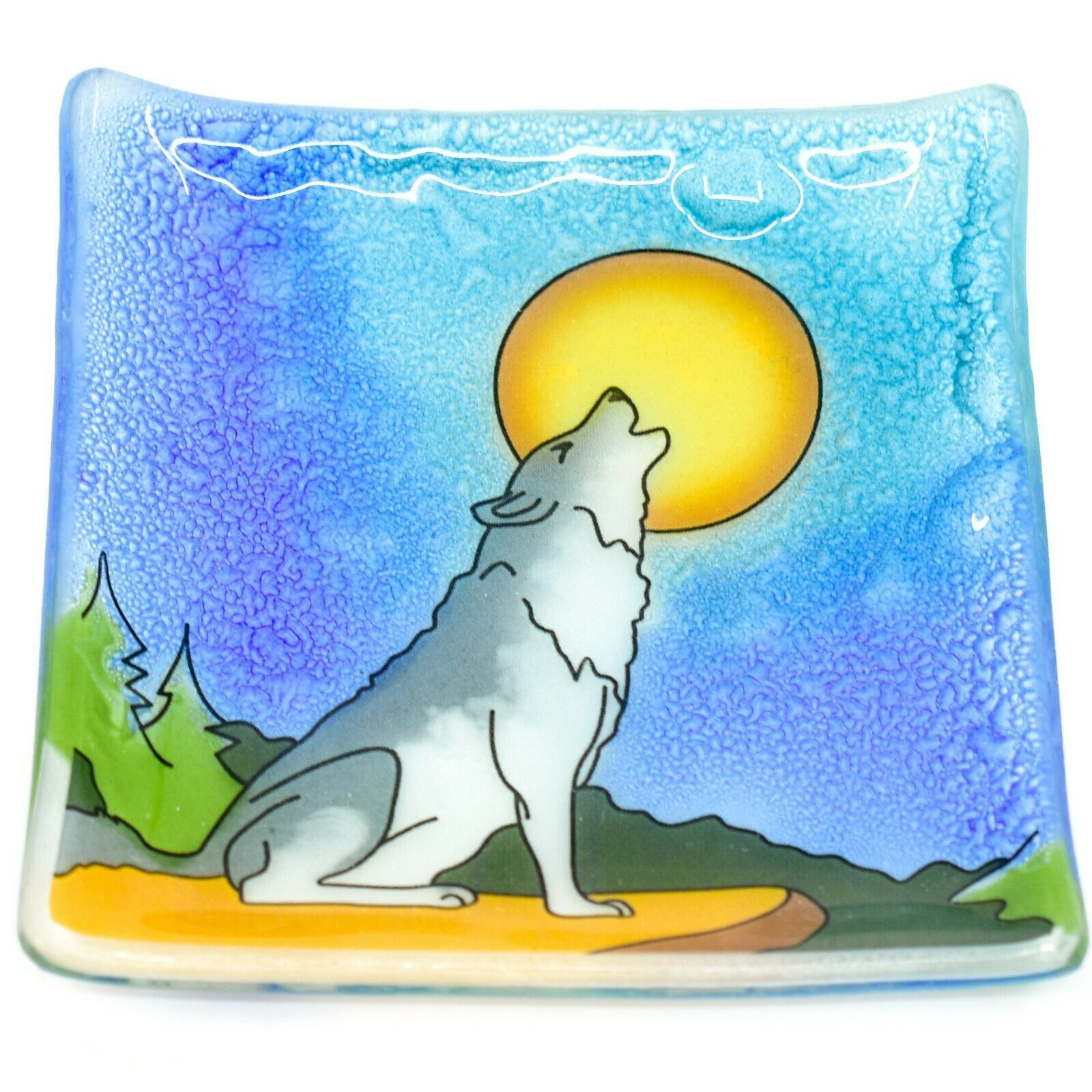 Fused Art Glass Howling Wolf Design Square Soap Dish Handmade Ecuador
