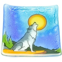 Fused Art Glass Howling Wolf Design Square Soap Dish Handmade Ecuador image 1