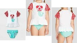 Cat & Jack™ Girl Mermaid Lobster Heart Two Piece Swimsuit 18M - $12.73