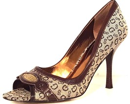 GUESS - Women's Brown/Tan Signature Print Open Toe Pumps - Size: 8.5 M - $29.99