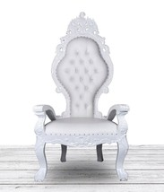 All White French Italian Style Throne Chair. Tufted High Back w Diamonds... - $890.01