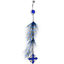 Polka Dot Feathers and Blue Cross Dangle Drop Design Navel Ring - $21.95