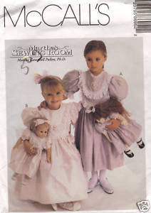 McCall's 8695 Girls Dress 6-8 Doll Dress 1997