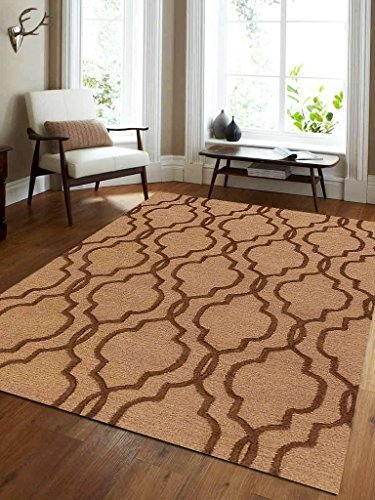 Primary image for Rugsotic Carpets Hand Tufted Wool 5' x 8' Area Rug Geometric Light Gold Brown K0