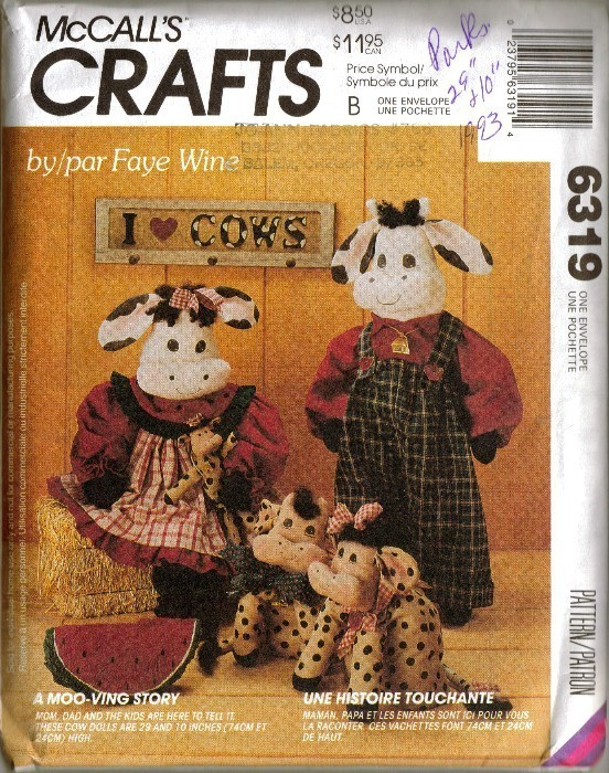 UNCUT Vtg 1993 McCall's #6319 COW DOLLS by Faye Wine McCall's
