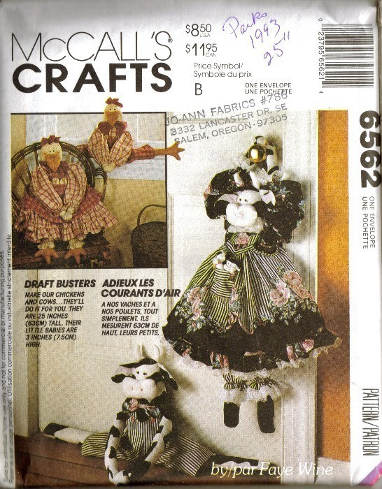 UNCUT Vtg 1993 McCall's #6562 CHICKENS & COW Dolls by Faye Wine McCall's