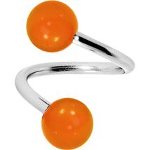 Spiral Twister Style Orange Glow in the Dark Design Belly Ring - $5.95