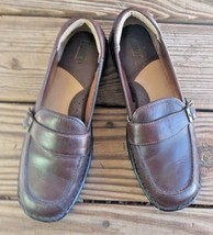 Born Size 8 E Brown Leather Buckle Trim Loafer Slip On Shoes Women's Exc... - $24.22