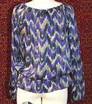MICHAEL KORS purple polyester long sleeve blouse M (T47-01C8G) image 8