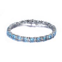 Sterling Silver Swiss Blue Cubic Zirconia Tennis Bracelet - $159.99