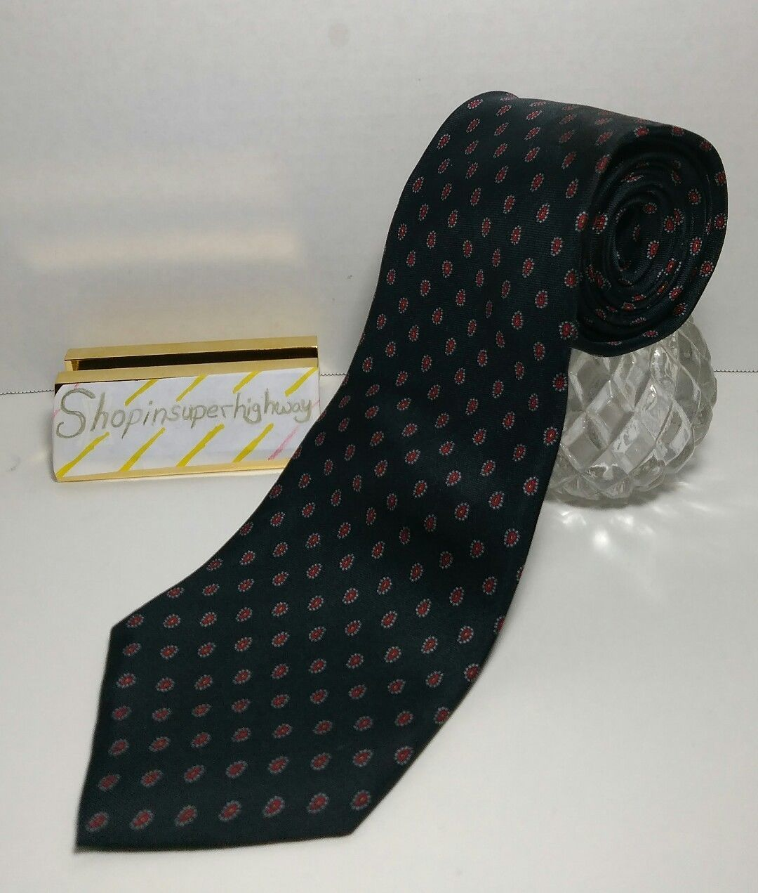 Kuppenheimer Men's Tie Hand printed in Italy Made in USA Navy Blue and Red EUC