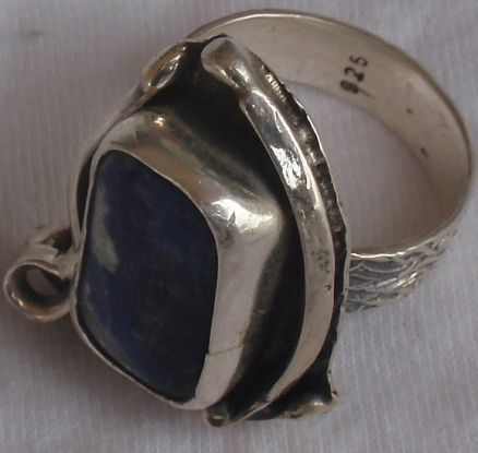 Natural lapis silver ring ST435