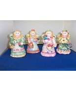 Set of 4 GARDEN ANGEL FIGURINES CUTE AND COLORFUL - NEW - $10.99