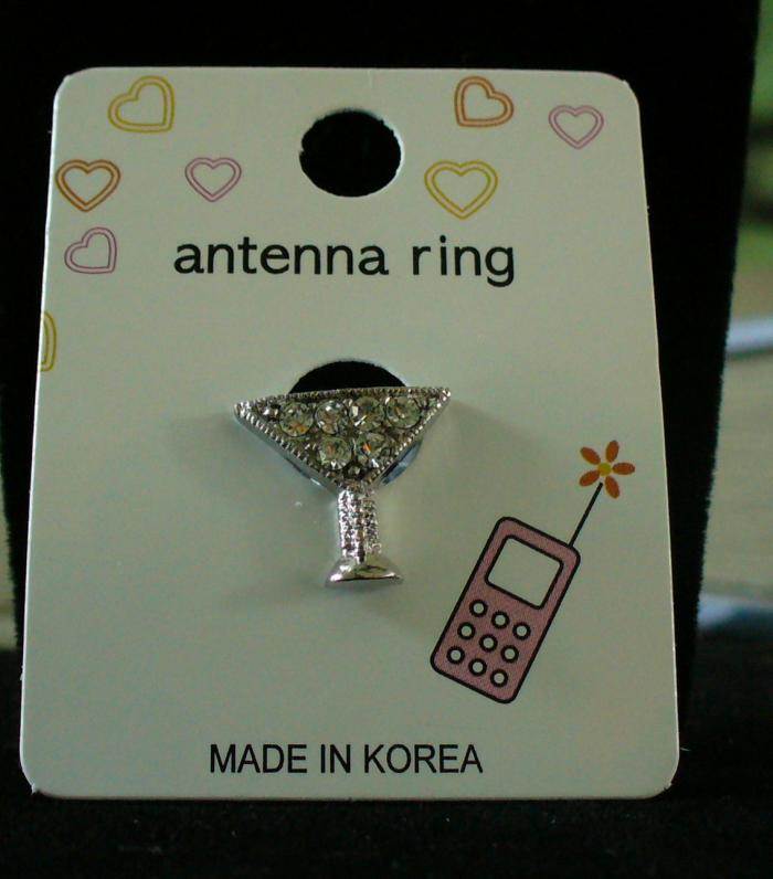 MARTINI GLASS Cell Phone Antenna Ring