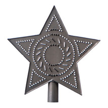 Country new small blacken punched tin STAR tree topper/NICE - $12.47