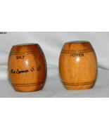 Vintage Souvenir Wooden Barrel Salt  Pepper Shakers - $14.99