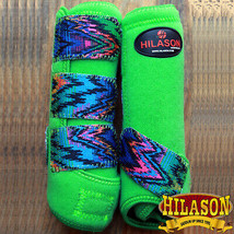 Medium Hilason Zigzag Lime Horse Front Leg Ultimate Sports Boot Pair U-03-M - $49.95