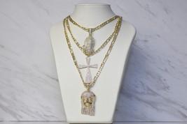 Gold Unisex Mens Chain Bead Rosary Jesus Stainless Steel Cross Pendant N... - $14.69