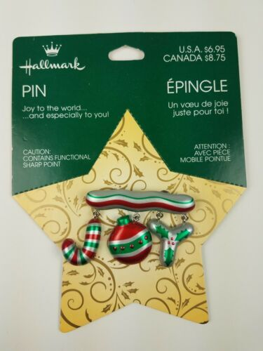 Hallmark Christmas Holiday Pin JOY to the World Red Green