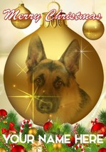 German Shepherd Dog Bauble Merry Christmas Personalised Greeting Card CodeB133 - $3.88