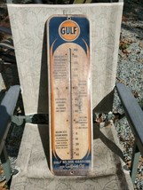 "Authentic 1940s Gulf Oil Gulfpride Thermometer metal sign working No-Nox 26.5"" - $558.99"