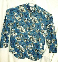 Outfitters Roundtree Yorke LS Shirt Size L Blue Hunter Rifle Deer Ram Bear EUC - $16.64
