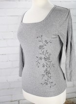 KAREN KANE Knit Tee Top Square Neck 3/4 sleeve Floral Embroidery Womens ... - $22.77