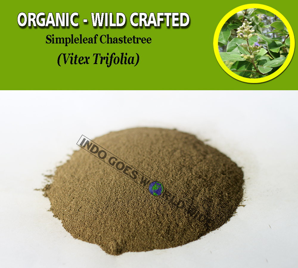 Primary image for POWDER Simpleleaf Chastetree Legundi Vitex Trifolia Organic Wild Crafted Herbs
