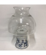 Blue Danube Japan Ceramic Candle Stick Holder Lamp With Clear Glass Glob... - $27.71