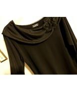 Women M L XL 10 12 14 Blous Sleev Solid Sheer Career Black Top Formal Pu... - $12.38