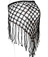 Black Boho Tribal Gypsy Belly Dance Dancing Hippie Beaded Fringe Net Bel... - $13.85