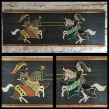 Mid Century Medieval Knights On Horses Gravel Pebble Art Wall Hanging Ra... - $89.27