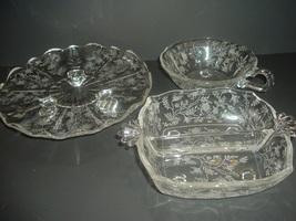 Fostoria Chintz Tidbit Nappy and Relish Dish 3 pieces - $39.99