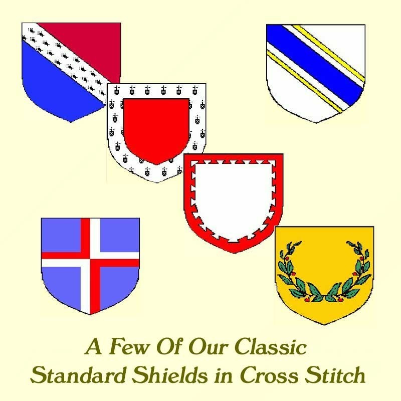 CROSS STITCH 18 Classic Heraldry Shields Graphs