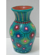 Brightly Colored Mexico Redware Pottery Handpainted Vase  - $15.99