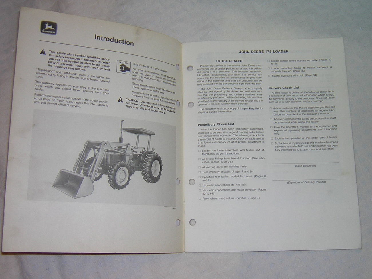 John Deere 175 Farm Loader Operator's Manual, Dealer Service Shop Copy