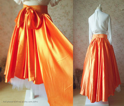 Adult Orange Big Bow High Low Layered Long Tutu Skirt Prom Skirt Custom Size NWT - $89.00